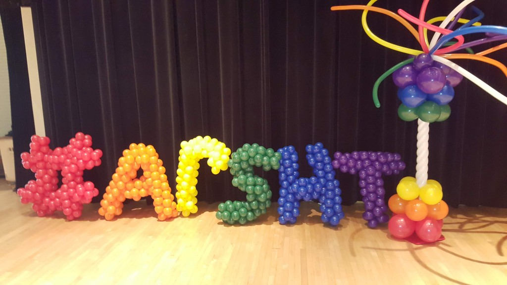 Balloon hashtag Plus Arsht balloon garland letters for arsht pride event