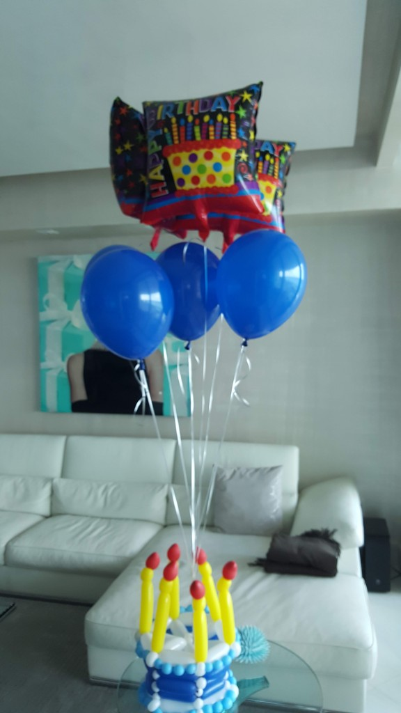 Blue birthday cake balloon bouquet delivery
