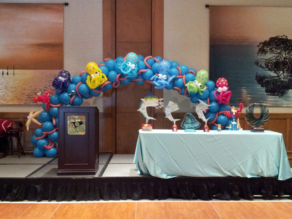 Closeup of the Under the Sea with Octopuses balloon arch for Westchester Hospital's Fishing Derby Event