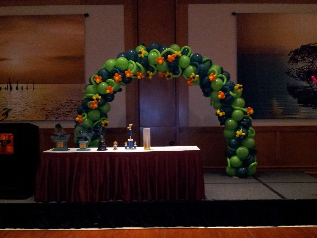 Flowered balloon arch for Westchester General Hospital's yearly Fishing derby