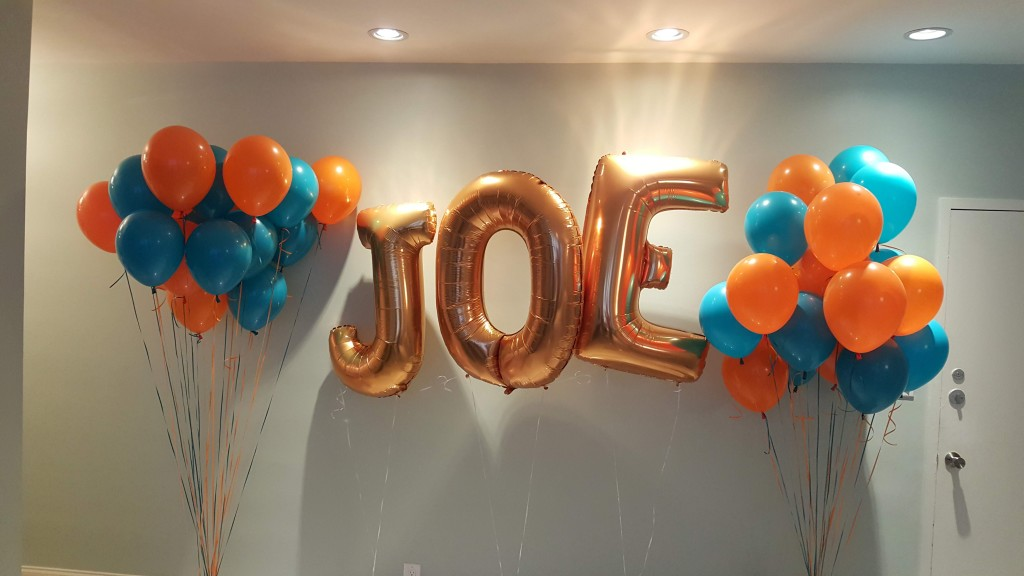 Giant letter balloon decor delivery