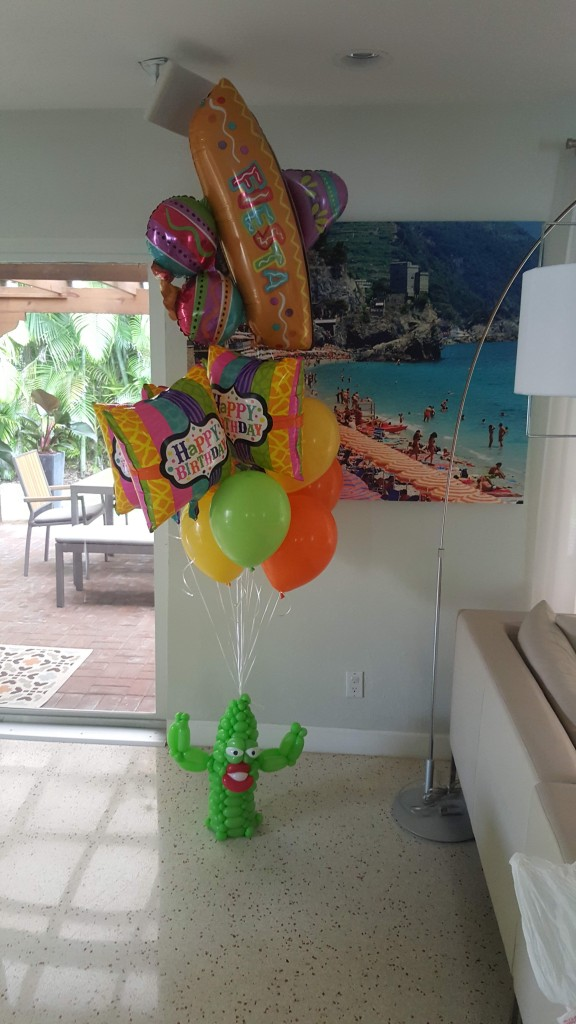 Happy Birthday Fiesta Cactus balloon delivery