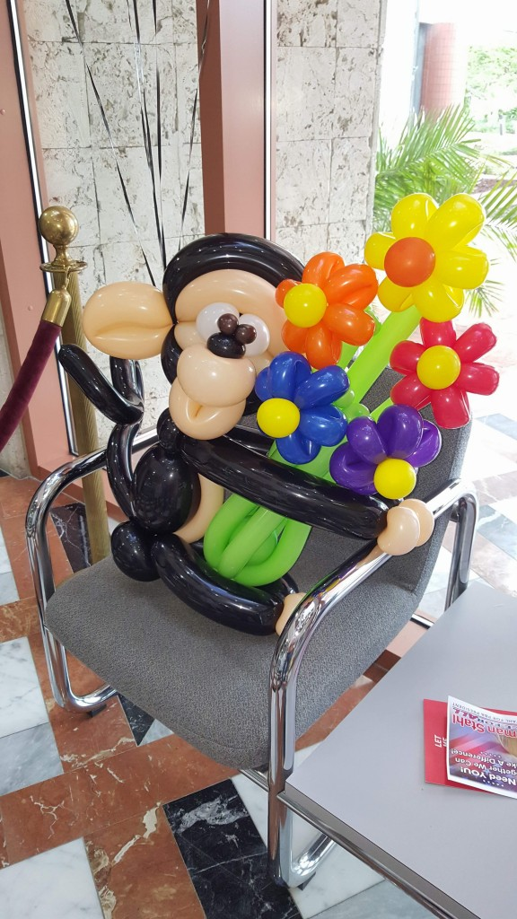 Happy Birthday Monkey and Flowers Balloon Bouquet delivery Closeup