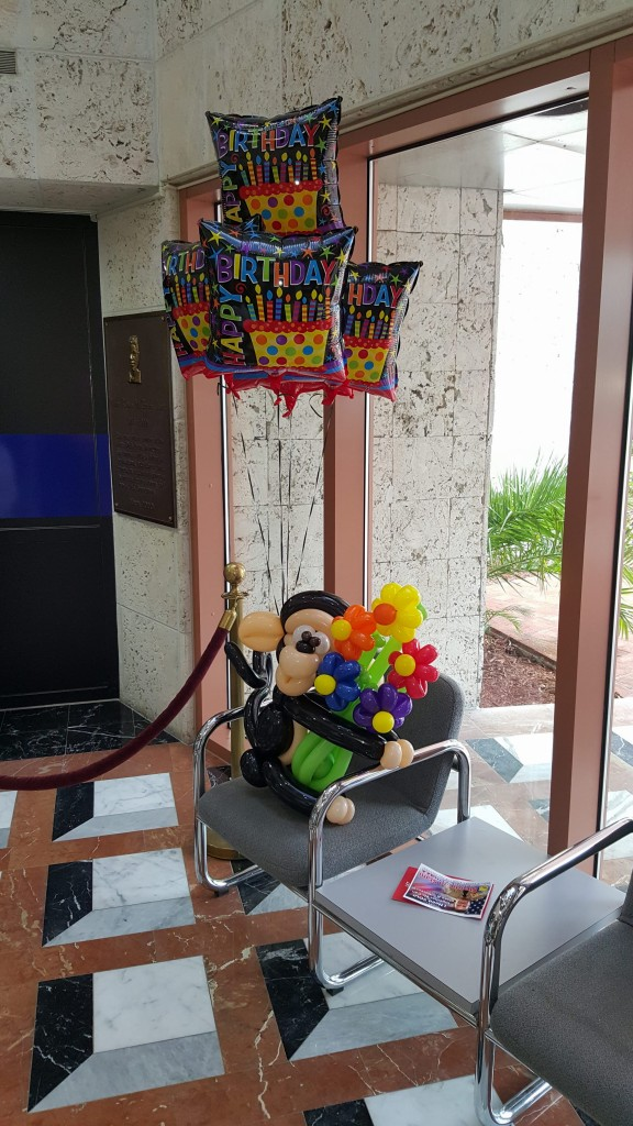 Happy Birthday Monkey and Flowers Balloon Bouquet delivery