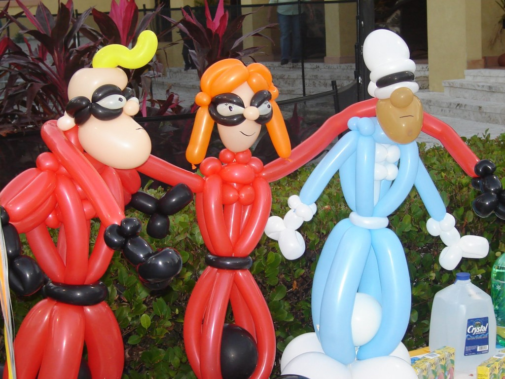 Incredibles themed party parody balloon display