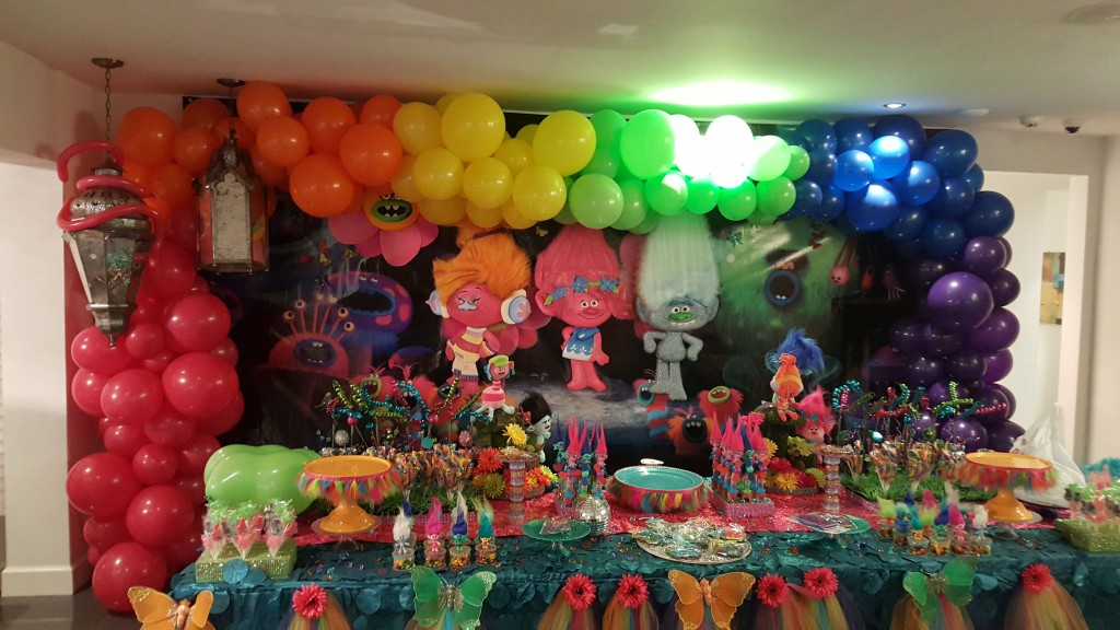 Organic Balloon arch for Trolls themed party
