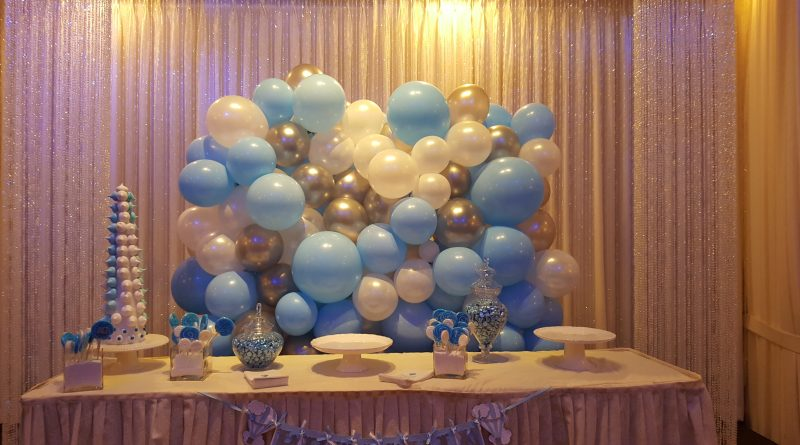 Organic balloon backdrop for boy's baby shower