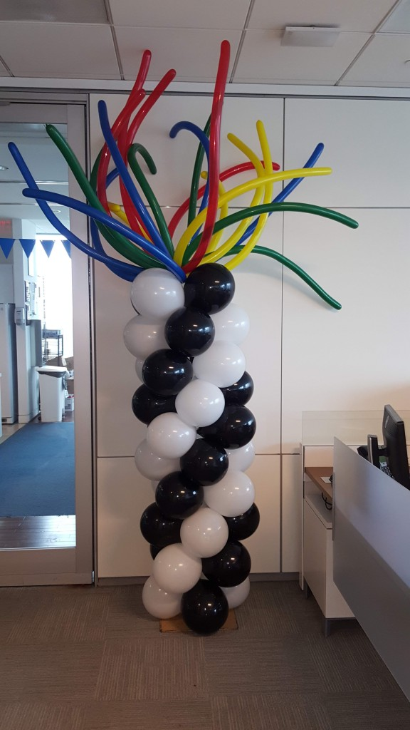 Sea Anemone styled balloon column for City National Bank event