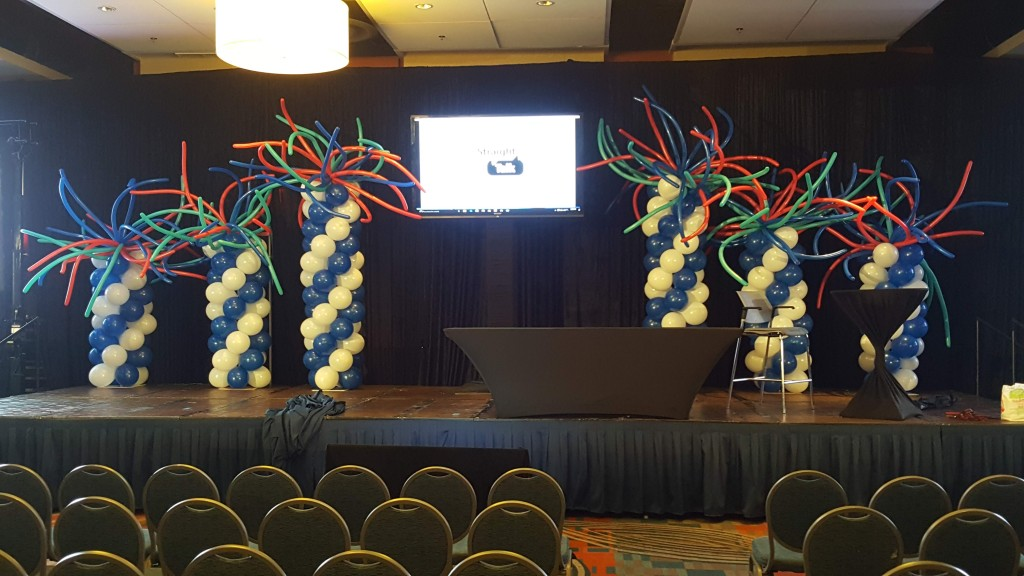 Simply mobile stage crazy balloon columns backdrop for conference