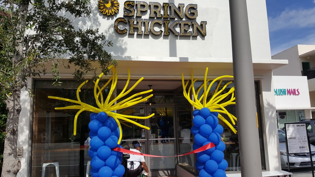 Spring Chicken restaurant grand opening balloon decor