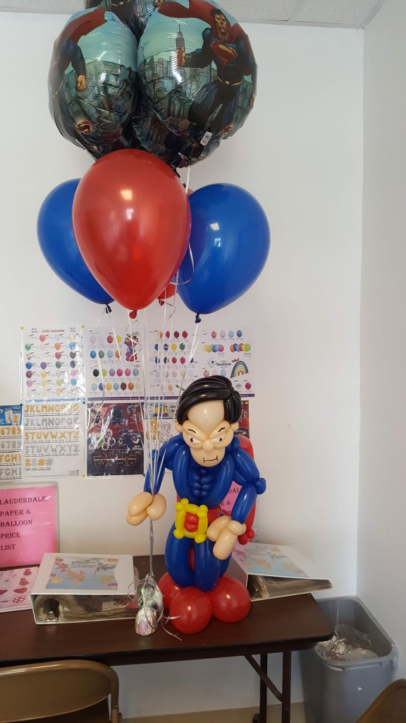 Superman parody balloon bouquet delivery