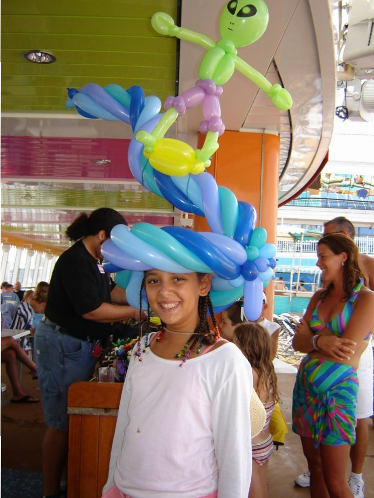 Surfing Alien balloon hat for NCL Cruiselines event