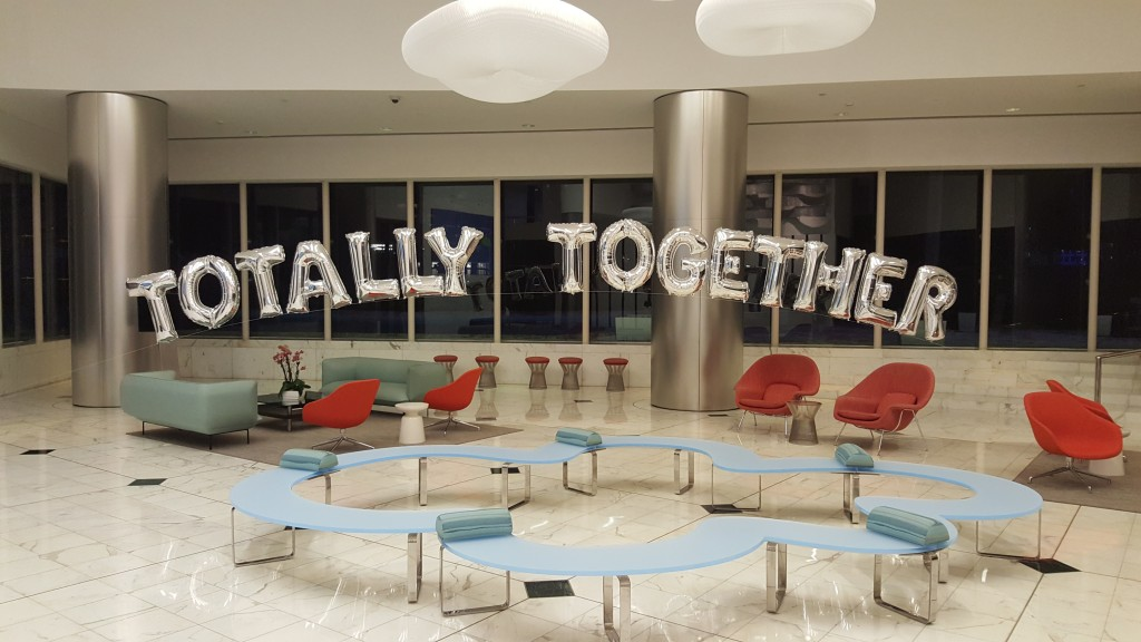 Totally Together giant balloon letters arch