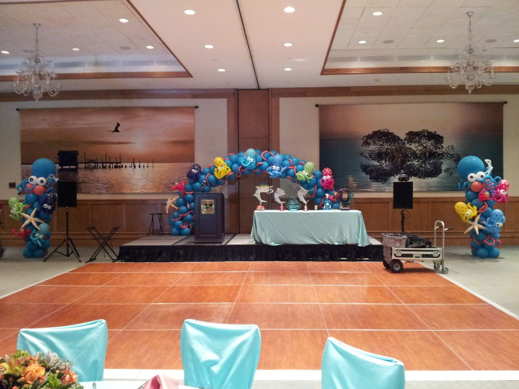 Under the Sea with Octopuses balloon decor for Westchester Hospital's Fishing Derby Event